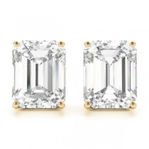1.00ct Emerald-Cut Lab Grown Diamond Stud Earrings 14kt Yellow Gold (G-H, VS2-SI1)