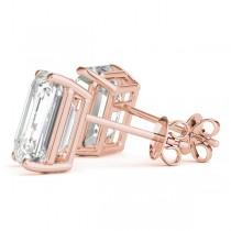 2.00ct Emerald-Cut Lab Grown Diamond Stud Earrings 18kt Rose Gold (G-H, VS2-SI1)