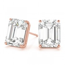 0.75ct Emerald-Cut Lab Grown Diamond Stud Earrings 18kt Rose Gold (G-H, VS2-SI1)