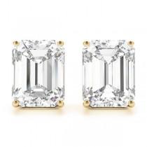1.50ct Emerald-Cut Lab Grown Diamond Stud Earrings 18kt Yellow Gold (G-H, VS2-SI1)