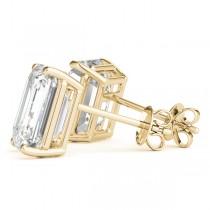 0.75ct Emerald-Cut Lab Grown Diamond Stud Earrings 18kt Yellow Gold (G-H, VS2-SI1)