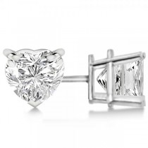 1.00ct Heart-Cut Diamond Stud Earrings 14kt White Gold (H, SI1-SI2)
