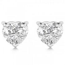 2.00ct Heart-Cut Diamond Stud Earrings 18kt White Gold (H, SI1-SI2)