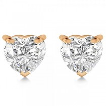 1.00ct Heart-Cut Lab Grown Diamond Stud Earrings 14kt Rose Gold (H, SI1-SI2)