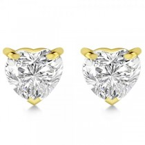 1.00ct. Heart-Cut Lab Grown Diamond Stud Earrings 18kt Yellow Gold (H, SI1-SI2)
