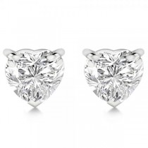 1.00ct Heart-Cut Diamond Stud Earrings Platinum (H, SI1-SI2)