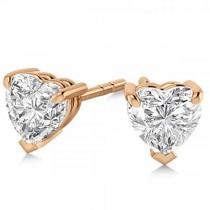 1.00ct Heart-Cut Moissanite Stud Earrings 14kt Rose Gold (F-G, VVS1)
