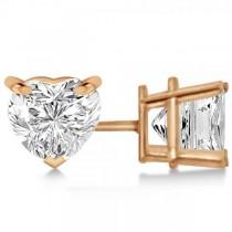 2.00ct Heart-Cut Moissanite Stud Earrings 14kt Rose Gold (F-G, VVS1)