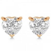 0.75ct Heart-Cut Moissanite Stud Earrings 14kt Rose Gold (F-G, VVS1)