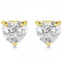 1.50ct Heart-Cut Moissanite Stud Earrings 14kt Yellow Gold (F-G, VVS1)