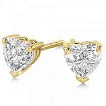 2.00ct Heart-Cut Moissanite Stud Earrings 14kt Yellow Gold (F-G, VVS1)