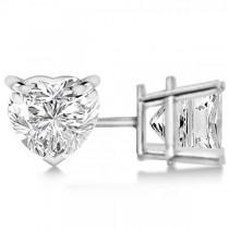 1.50ct Heart-Cut Moissanite Stud Earrings Platinum (F-G, VVS1)