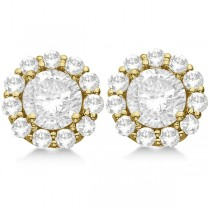 3.00ct. Halo Diamond Stud Earrings 18kt Yellow Gold (H, SI1-SI2)