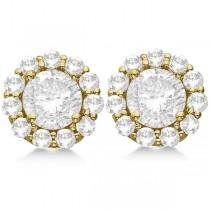 0.75ct. Halo Diamond Stud Earrings 18kt Yellow Gold (H, SI1-SI2)