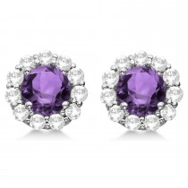 Halo Amethyst Diamond Stud Earrings 14kt White Gold 1.92ct