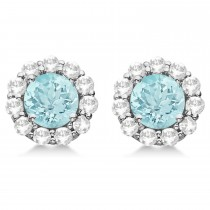 Halo Aquamarine Diamond Stud Earrings 14kt White Gold 2.02ct.