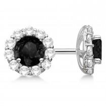 Halo Black Diamond & Diamond Stud Earrings 14kt White Gold 2.00ct