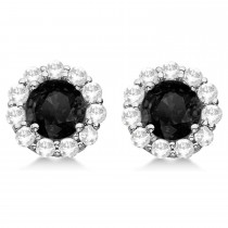 Halo Black Diamond & Diamond Stud Earrings 14kt White Gold 2.00ct