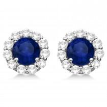 Halo Blue Sapphire & Diamond Stud Earrings 14kt White Gold 2.62ct.