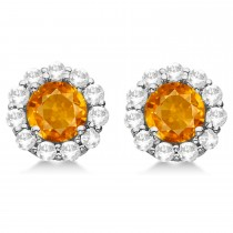Halo Citrine & Diamond Stud Earrings 14kt White Gold 1.92ct.