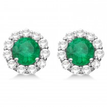 Halo Emerald & Diamond Stud Earrings 14kt White Gold 2.12ct.