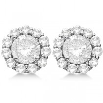 3.00ct. Halo Diamond Stud Earrings Palladium (H, SI1-SI2)