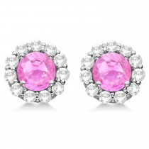Halo Pink Sapphire & Diamond Stud Earrings 14kt White Gold 2.62ct.
