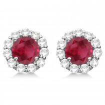 Halo Ruby & Diamond Stud Earrings 14kt White Gold 2.62ct.