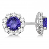 Halo Tanzanite & Diamond Stud Earrings 14kt White Gold 2.62ct.