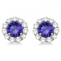 Halo Tanzanite & Diamond Stud Earrings 14kt White Gold 2.62ct.|escape