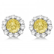 Halo Yellow Diamond & Diamond Stud Earrings 14kt White Gold 2.02ct.