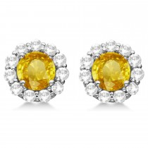 Halo Yellow Sapphire & Diamond Stud Earrings 14kt White Gold 2.62ct.