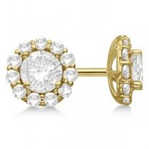 3.00ct. Halo Diamond Stud Earrings 14kt Yellow Gold (G-H, VS2-SI1)