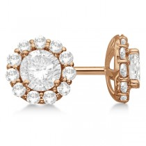 3.00ct. Halo Diamond Stud Earrings 18kt Rose Gold (G-H, VS2-SI1)