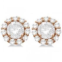 3.00ct. Halo Diamond Stud Earrings 18kt Rose Gold (G-H, VS2-SI1)