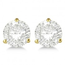 4.00ct. 3-Prong Martini Lab Grown Diamond Stud Earrings 18kt Yellow Gold (H-I, SI2-SI3)