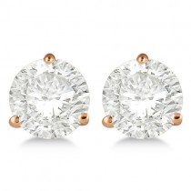4.00ct. 3-Prong Martini Diamond Stud Earrings 18kt Rose Gold (H, SI1-SI2)