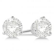 1.00ct. 3-Prong Martini Diamond Stud Earrings 18kt White Gold (H, SI1-SI2)