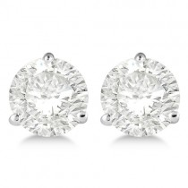 1.00ct. 3-Prong Martini Lab Grown Diamond Stud Earrings 18kt White Gold (H, SI1-SI2)