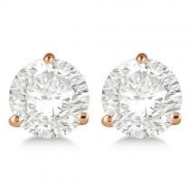 1.00ct. 3-Prong Martini Moissanite Stud Earrings 14kt Rose Gold (F-G, VVS1)