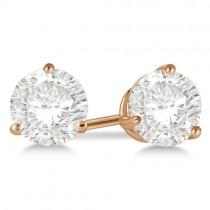 2.00ct. 3-Prong Martini Moissanite Stud Earrings 14kt Rose Gold (F-G, VVS1)
