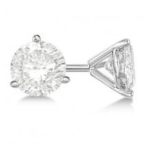1.00ct. 3-Prong Martini Moissanite Stud Earrings 14kt White Gold (F-G, VVS1)