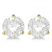 2.00ct. 3-Prong Martini Moissanite Stud Earrings 14kt Yellow Gold (F-G, VVS1)