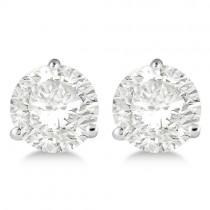 1.50ct. 3-Prong Martini Moissanite Stud Earrings 18kt White Gold (F-G, VVS1)