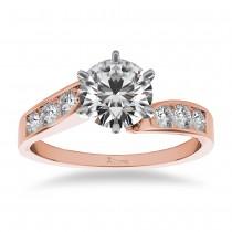 Diamond Swirl Engagement Ring Channel Set 14k Rose Gold (0.35ct)