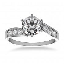 Diamond Swirl Engagement Ring Channel Set 14k White Gold (0.35ct)