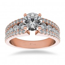 Triple Row Luxury Diamond Engagement Ring 14k Rose Gold (1.12ct)