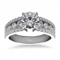 Triple Row Luxury Diamond Engagement Ring 14k White Gold (1.12ct)