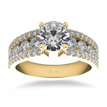 Triple Row Luxury Diamond Engagement Ring 14k Yellow Gold (1.12ct)