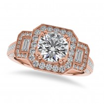 Diamond Vintage Square Halo Engagement Ring 14k Rose Gold (2.00ct)